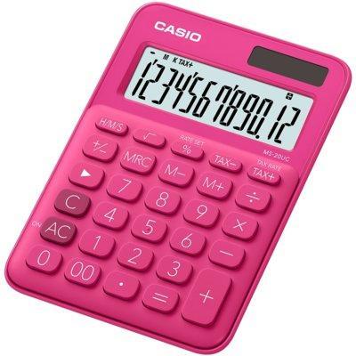 Kalkulator CASIO MS-20UC-RD-S Ciemnoróżowy