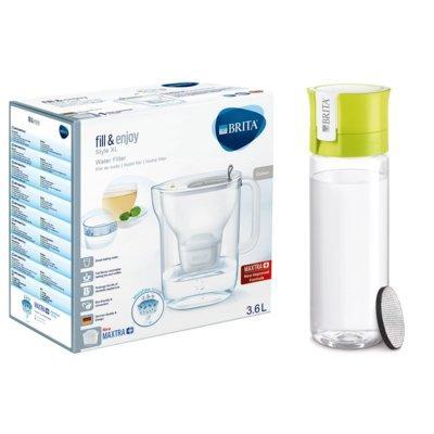 Dzbanek filtrujący BRITA Style XL + butelka filtrująca Fill&Go Vital Limonka