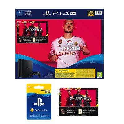 Konsola SONY PlayStation 4 Pro 1TB G Chassis Czarna + FIFA 20 + Dodatek FIFA Ultimate Team + Playstation Plus 14 dni