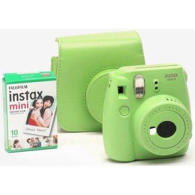 Aparat FUJIFILM Instax mini 9 Lime Green Limonkowy + 10 wkładów Instax mini + etui