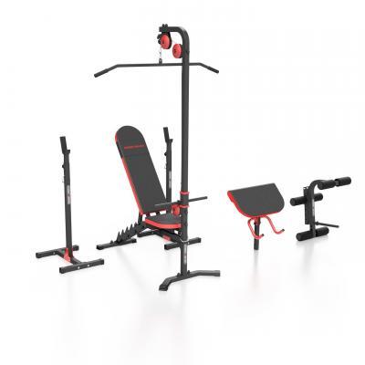 Zestaw mh25 | ławka regulowana + stojaki regulowane + prasa na nogi + wyciąg + modlitewnik (wsuwka) - marbo sport - brak