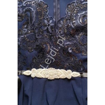 Ozdobny pasek czarny z kryształkami i sztucznymi perełkami 506