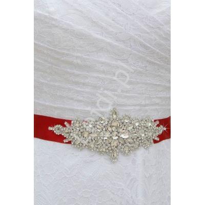 Ciemno czerwony kryształkowy ozdobny pasek do sukienek wieczorowych