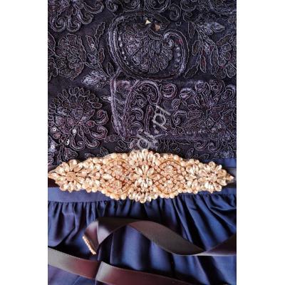 Granatowy pasek do sukienek wieczorowych zdobiony kryształkami 849 rose gold