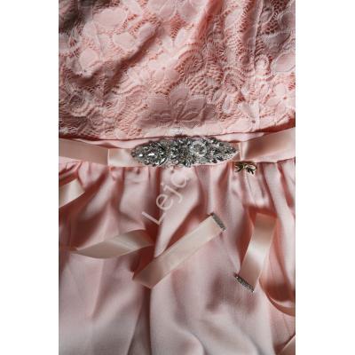 Różowo brzoskwiniowy pasek ozdobny do sukien wieczorowych, zdobiony kryształkami 944