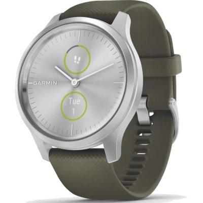 Produkt z outletu: Smartwatch GARMIN Vívomove Style 42 mm Srebrna aluminiowa koperta z ciemnozielonym silikonowym paskiem 010-02240-21