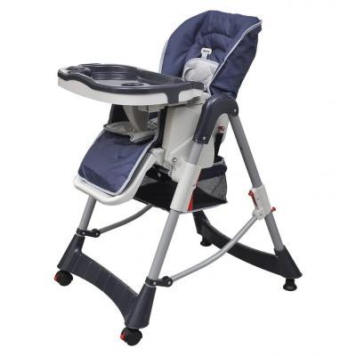 Emaga vidaxl krzesełko do karmienia, regulacja wysokości, granatowe