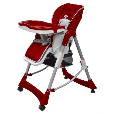 Emaga vidaxl luksusowe krzesełko do karmienia, regulacja wysokości, czerwone