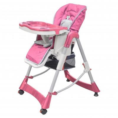 Emaga vidaxl luksusowe krzesełko do karmienia, regulacja wysokości, różowe