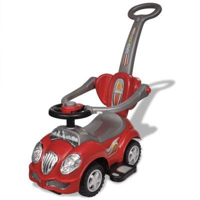 Emaga czerwony samochód-jeździk z drążkiem do pchania