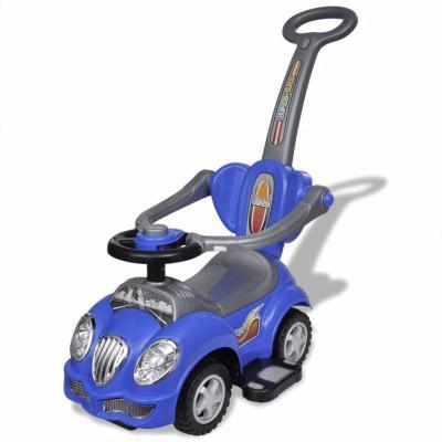 Emaga niebieski samochód jeździk z drążkiem do pchania