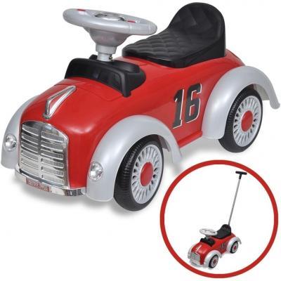 Emaga czerwony samochód-jeździk retro z drążkiem do pchania
