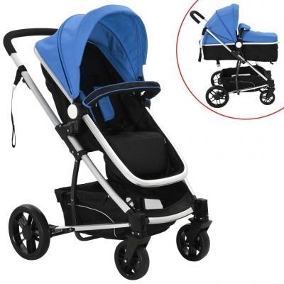 Emaga vidaxl wózek spacerowy 2w1 (gondola i spacerówka) niebieski i czarny