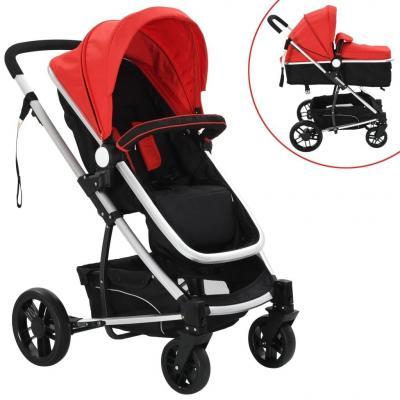 Emaga vidaxl wózek spacerowy 2w1 (gondola i spacerówka) czerwony i czarny