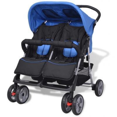 Emaga vidaxl wózek spacerowy dla bliźniaków niebieski i czarny