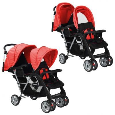 Emaga vidaxl wózek spacerowy dla bliźniąt, tandem czerwono-czarny