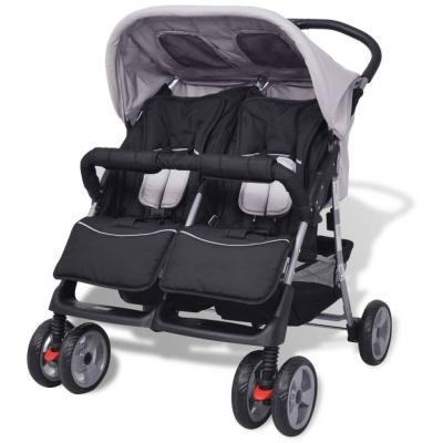 Emaga vidaxl wózek spacerowy dla bliźniaków szary i czarny