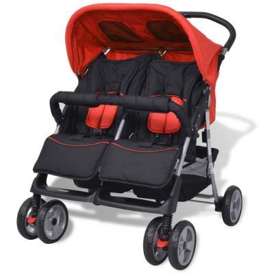 Emaga vidaxl wózek spacerowy dla bliźniaków czerwony i czarny