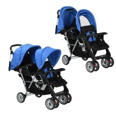 Emaga vidaxl wózek spacerowy dla bliźniąt, tandem niebiesko-czarny