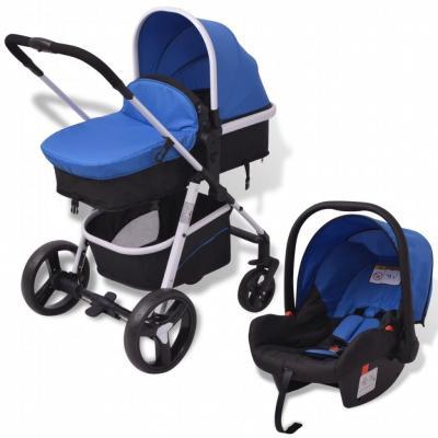 Emaga vidaxl wózek 3-w-1, aluminium, niebiesko-czarny
