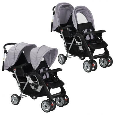 Emaga vidaxl wózek spacerowy dla bliźniąt, tandem szaro-czarny