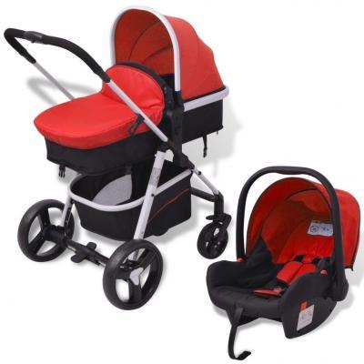 Emaga vidaxl wózek 3-w-1, aluminium, czerwono-czarny
