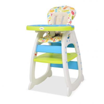 Emaga vidaxl krzesełko do karmienia 3w1 ze stolikiem, niebieski i zielony