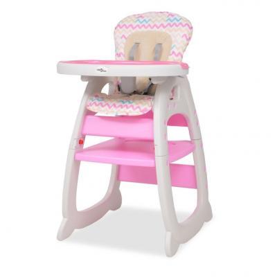 Emaga vidaxl wysokie krzesełko 3 w 1 z różowym stołem