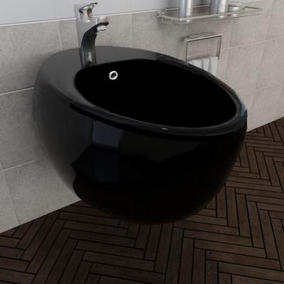 Emaga vidaxl bidet ścienny, czarny, ceramiczny