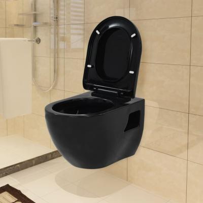 Emaga vidaxl toaleta wisząca, ceramiczna, czarna