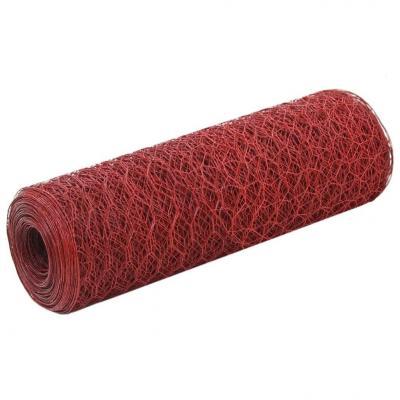 Emaga vidaxl ogrodzenie z siatki, stal i pvc, 25x0,5 m, czerwone