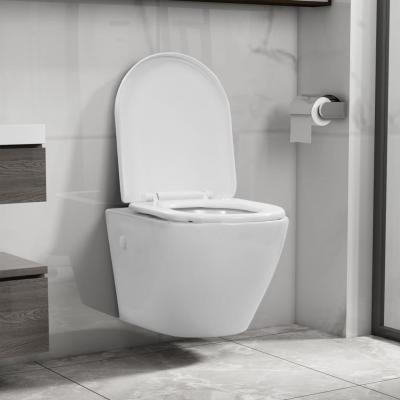 Emaga vidaxl wisząca toaleta bez kołnierza, ceramiczna, biała