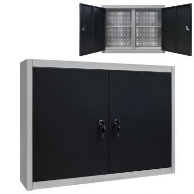 Emaga vidaxl ścienna szafka narzędziowa, metalowa, szaro-czarna