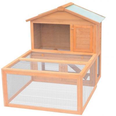 Emaga vidaxl klatka dla królików z wybiegiem, drewniana