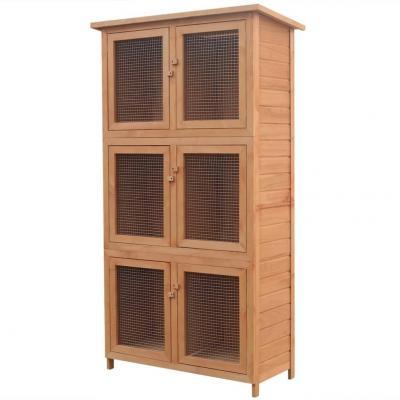 Emaga vidaxl klatka dla królików, 6 przegród, drewniana