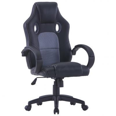 Emaga vidaxl fotel dla gracza, szary, sztuczna skóra