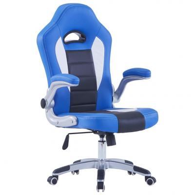 Emaga vidaxl fotel dla gracza, niebieski, sztuczna skóra