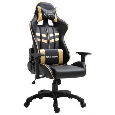 Emaga vidaxl fotel dla gracza, złoty, sztuczna skóra