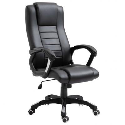 Emaga vidaxl krzesło biurowe, czarne, sztuczna skóra