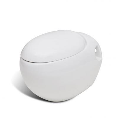 Emaga vidaxl toaleta wisząca o oryginalnej formie jaja, biała