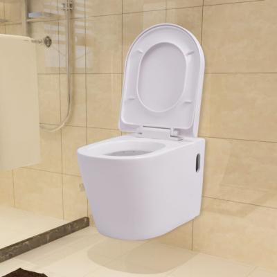 Emaga vidaxl podwieszana toaleta ceramiczna, biała