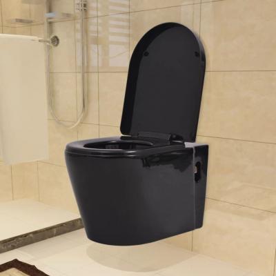 Emaga vidaxl podwieszana toaleta ceramiczna, czarna