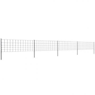 Emaga vidaxl ogrodzenie z siatki ze słupkami, ocynkowane żelazo, 50 m