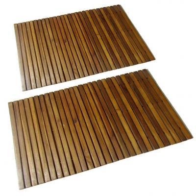 Emaga vidaxl mata prysznicowa z drewna akacjowego, 2 sztuki, 80 x 50 cm