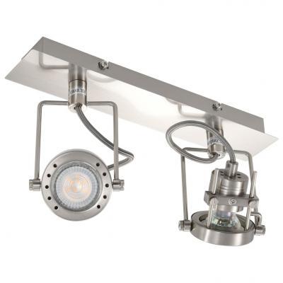 Emaga vidaxl lampa z 2 reflektorami, srebrna, gu10