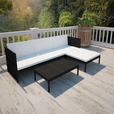 Emaga vidaxl 3-cz. zestaw wypoczynkowy do ogrodu, poduszki, rattan pe czarny