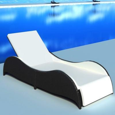 Emaga vidaxl leżak ogrodowy z poduszką, polirattan, czarny