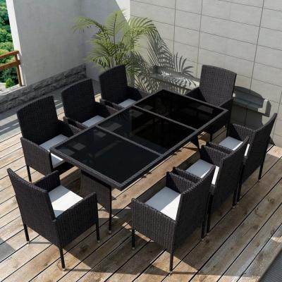 Emaga vidaxl 9-cz. zestaw mebli ogrodowych z poduszkami, rattan pe, czarny