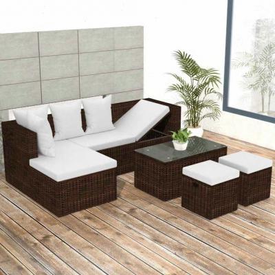 Emaga vidaxl 4-cz. zestaw wypoczynkowy do ogrodu, poduszki, rattan pe, brąz