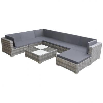 Emaga vidaxl 8-cz. zestaw wypoczynkowy do ogrodu, poduszki, rattan pe, szary